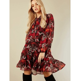 Dark Forest Elegant Red Lantern Longsleeve Ruffles Bohemian Womens Dress