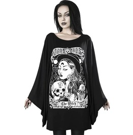 Goth Plus Size Witch Print Graffiti Flare Sleeve O-neck ...