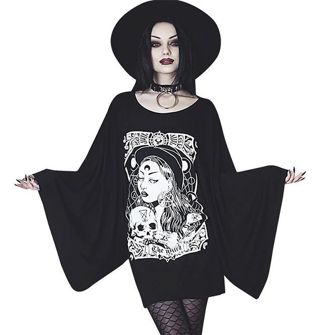 Goth Plus Size Witch Print Graffiti Flare Sleeve O-neck Loose Shirt Dress
