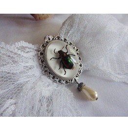 Victorian Beetle White Lace Bow Hair Pin, Insect, Cabinet Of Curiosities