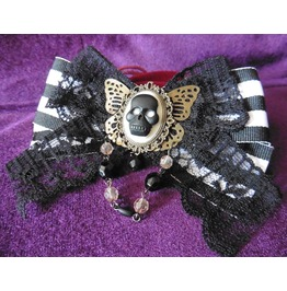 Victorian Dead Moth Butterfly Striped Bow Hair Pin, Skull, Cabinet