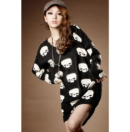 Multi Skull Heads Long Black T Shirt