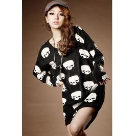 Multi Skull Heads Long Black T Shirt