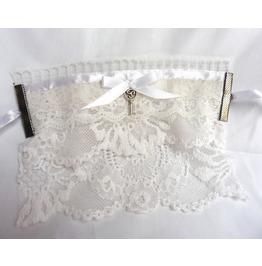 Key of Heart White Lace Wedding Cuff Bracelet, , Victorian, Edwardian
