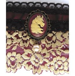 Unicorn Brown Cuff Bracelet, Elven, , Victorian, Wedding