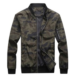 Men Stand Collar Zipper Pockets Solid Pattern Camouflage Bomber Jacket