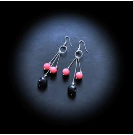 Punk Unique Skull & Glass Bead Handmade Dangle Earrings In Black & Orange