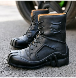 Men's Skull Printed Genuine Leather Boots