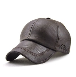Men's Solid Faux Leather Baseball Hats
