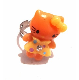 CUTE Silver Tone Metal Adjustable Ring Size 6 Orange Hello Kitty Design
