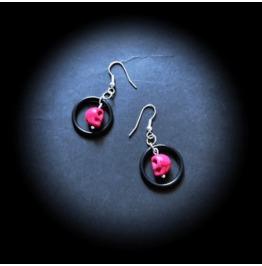 Punk Rock Pink Skull & Black Hoop Retro Style One Of A Kind Dangle Earrings