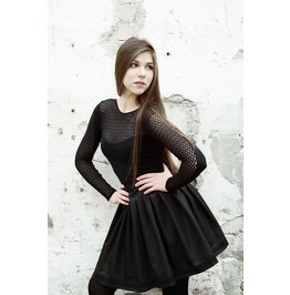 Black Wet Look Gothic Lolita Pleated Silver Brocade Skirt