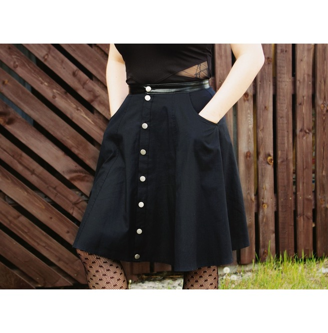 Black Gothic Lolita Button Down Skirt With Pockets And Faux Leather Belt