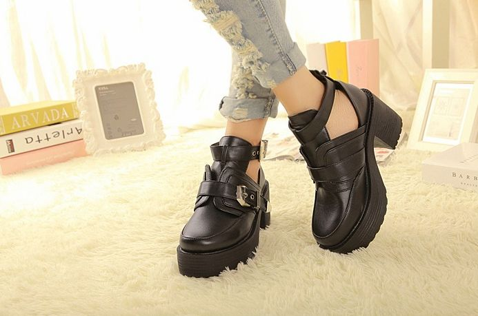 Chunky High Heels Straps Ankle Boots 29105