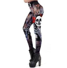 Gothic the Dead Rose Skull Print Leggings