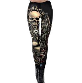 Gothic Gold Skull Print Leggings