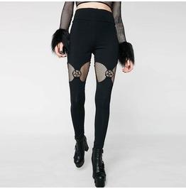 Gothic Fish Net Pentagram Tight Leggings