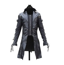 Men Black Gothic Coat Lamb Skin Real Leather Goth Jacket