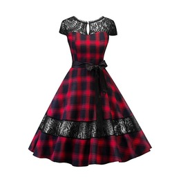 Women's Gothic Backless Lace Plaid Circle Dresses