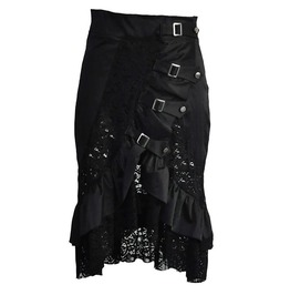 Lace Buckle Straps Retro Vintage Ruffle Skirt