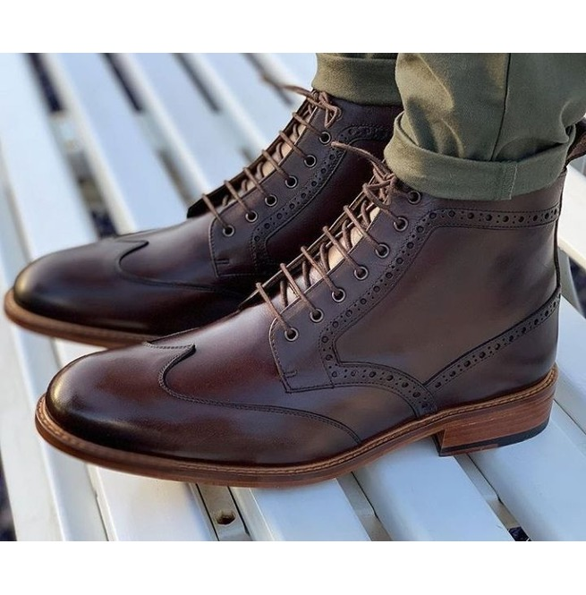 Handmade Mens Coffee Brown Wing Tip Brogue Ankle Boots, Mens Leather Boots