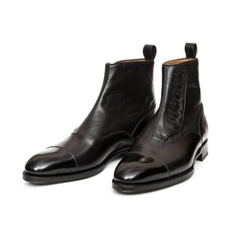 Handmade Mens Cap Toe Leather Dress Boots, Men Black Leather Button Boots