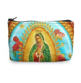 Mexican Virgin Mary Guadalupe Wallet Coin Purse Rockabilly W/Zipper Big Enough 4 Make