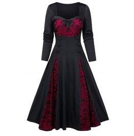 Long Sleeves Bow Knot Skull Print Halloween Dress