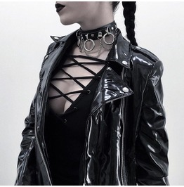 Gothic Adjustable Leather Links Chain Choker Necklace