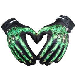 COOL New Black Bike Gloves With Green Zombie Hands - SIze Large