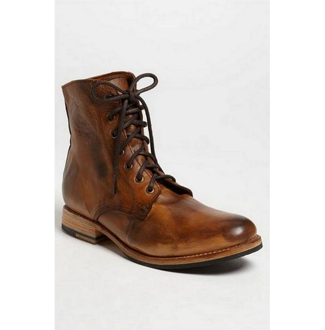 Handmade Mens Brown Lace up High Ankle