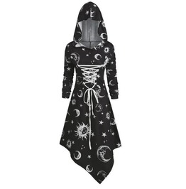 Gothic Moon Star Long Sleeves Hooded Black Dress