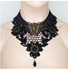 Gothic Horned Skull Black Lace Choker Necklace