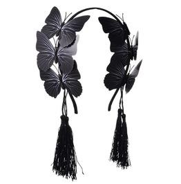 Gothic Black Butterfly Tassel Headband
