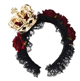 Gothic Red Rose Gold Crown Black Lace Headband