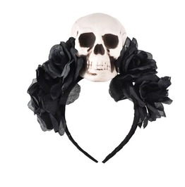 Gothic Black Skull Rose Headband