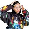 Womens grunge cartoon skull print loose drawstring hoodie rebelsmarket