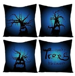 Blue Sky Halloween Trees Printed Cushion Covers 4 Piece Set