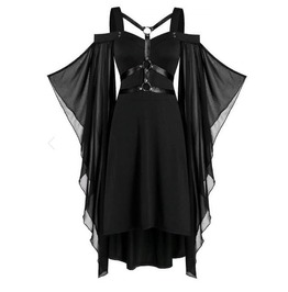 Gothic Leather Harness Body Butterfly Sleeves Asymmetric Black Dress
