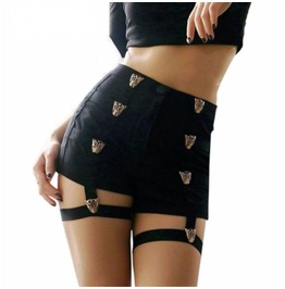 Leopard Sexy Black Shorts With Leg Straps