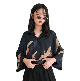 Japanese Crane Blouse With Long Sleeves And Blue Color