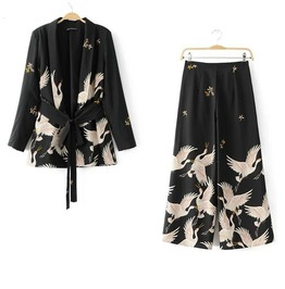 Black Japanese Crane Jacket Or Pants