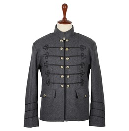 Grey Wool Napoleon Style Military Zipper Jacket For Men