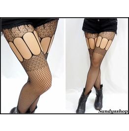 Gothic Thigh Crochet Fishnet Stockings/ Pantyhose