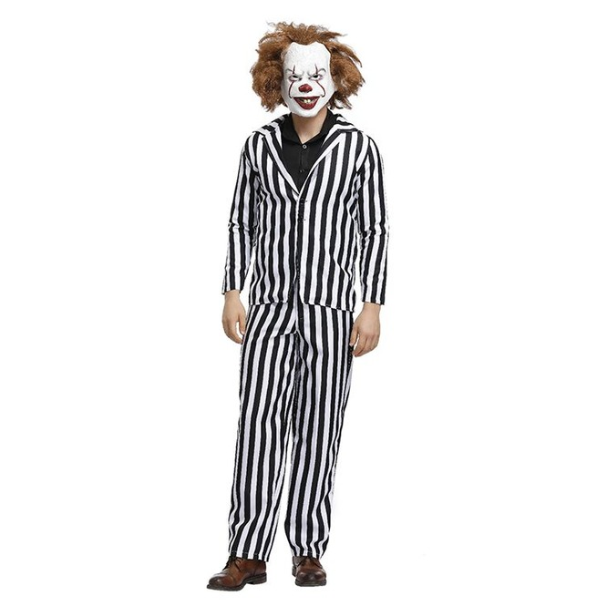 outlet scegli autentico sconto in vendita Men's Horror Beetle Film Master Black and White Striped Suit Adult  Halloween Cosplay Costume N19397