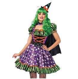 Sexy Adult Hello Kitty Little Black Hat Mini Dress Masquerade Cosplay Costume N19549