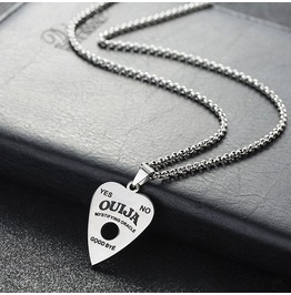 No Class Apparel Ouija Necklace, Stainless Steel With Chain