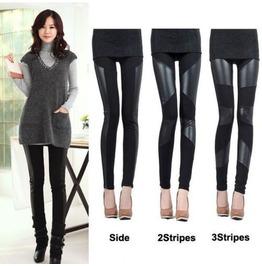 Women Black Faux Leather Stitching Elastic Tights Leggings 3 Stripes