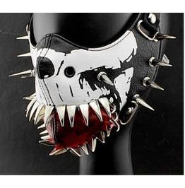 Black and White Skull Long Spikes Face Mask