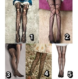 Black sheer Tights Stockings with small Crosses Gothic Goth Witch Pamela Mann